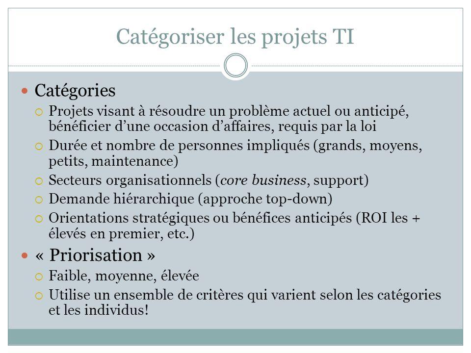 Catégoriser les projets TI
