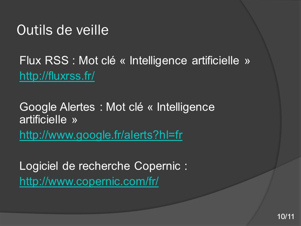 Outils de veille Flux RSS : Mot clé « Intelligence artificielle »