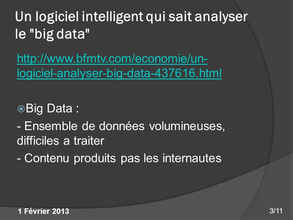 Un logiciel intelligent qui sait analyser le big data