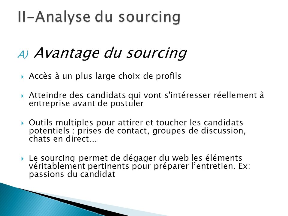 II-Analyse du sourcing