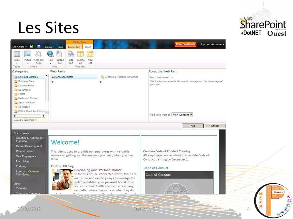 Les Sites SharePoint 2010 Sites : partagez des informations à travers des organisations.