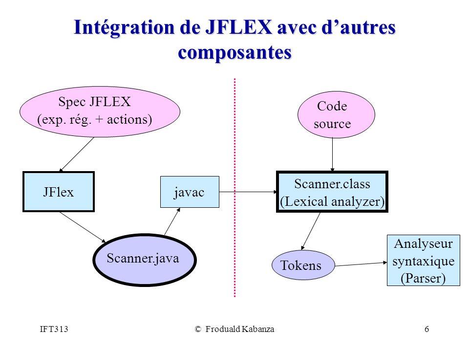 Intégration de JFLEX avec d'autres composantes