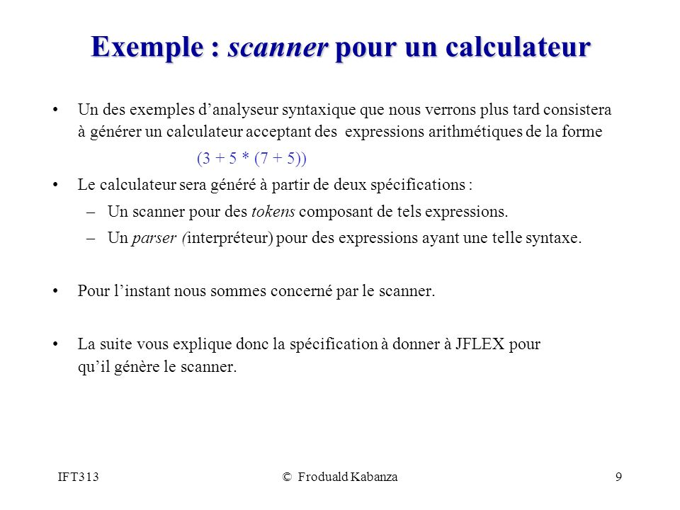 Exemple : scanner pour un calculateur