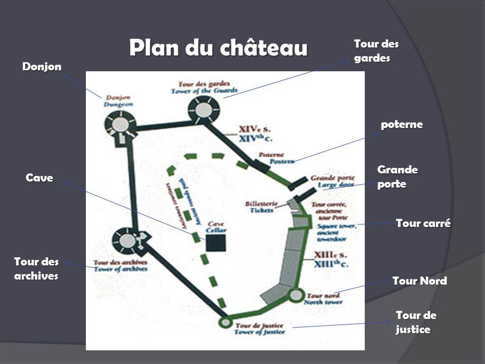 Plan du château Tour des gardes Donjon poterne Grande porte Cave