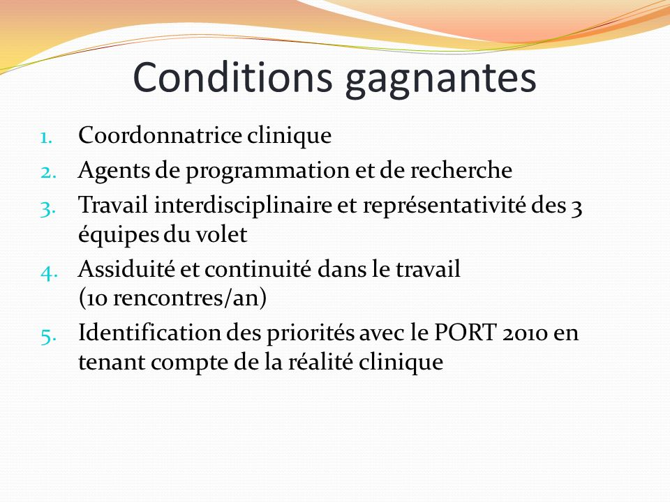 Conditions gagnantes Coordonnatrice clinique