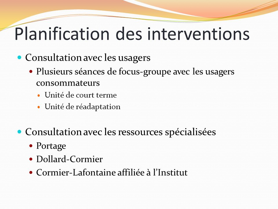 Planification des interventions