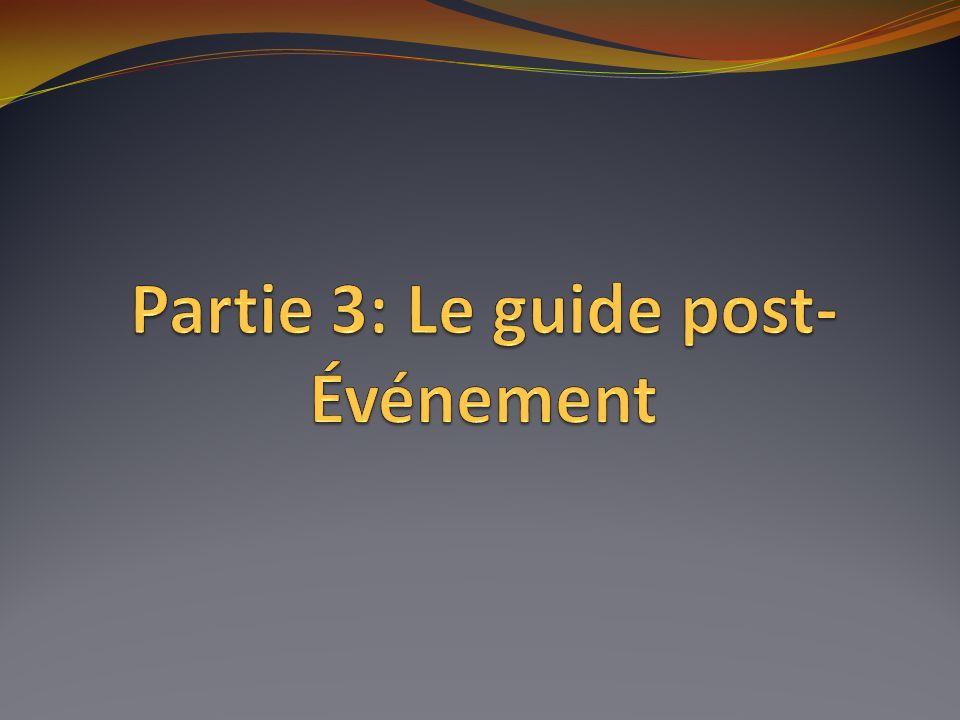 Partie 3: Le guide post-Événement