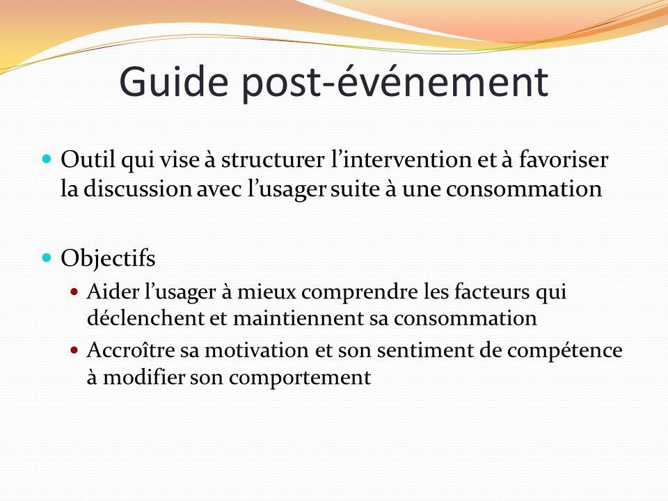 Guide post-événement Outil qui vise à structurer l'intervention et à favoriser la discussion avec l'usager suite à une consommation.