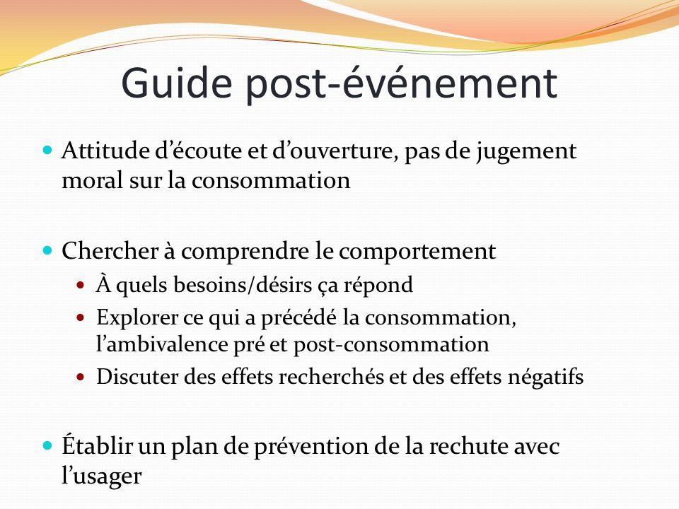 Guide post-événement Attitude d'écoute et d'ouverture, pas de jugement moral sur la consommation. Chercher à comprendre le comportement.