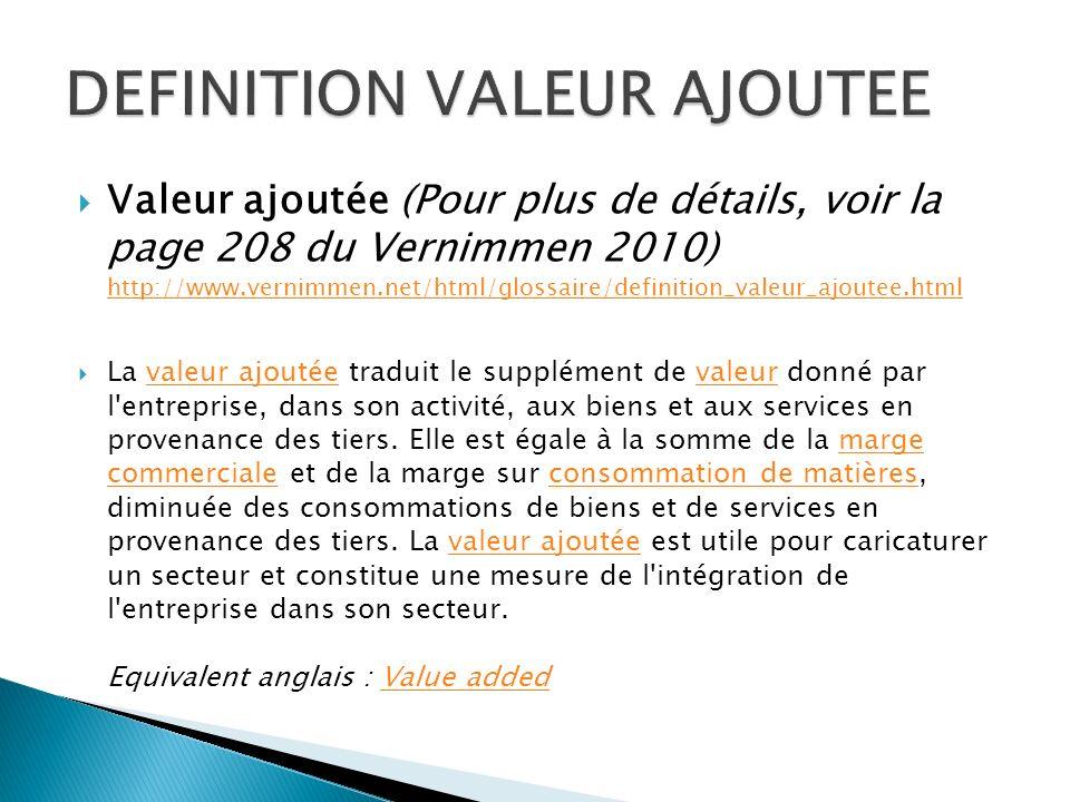 DEFINITION VALEUR AJOUTEE