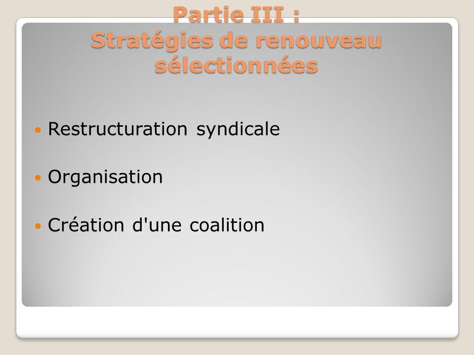 Partie III : Stratégies de renouveau sélectionnées