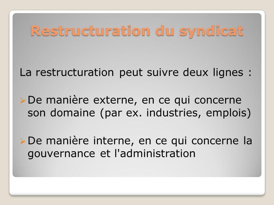 Restructuration du syndicat