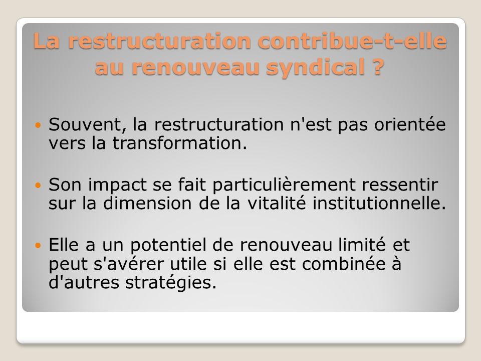 La restructuration contribue-t-elle au renouveau syndical