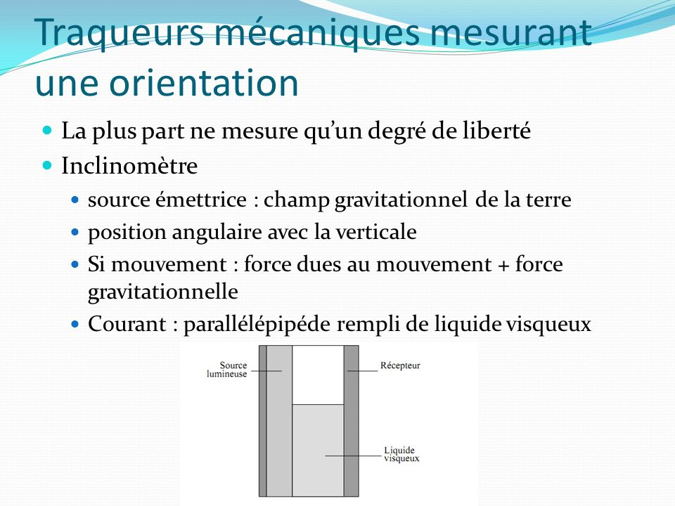 Traqueurs mécaniques mesurant une orientation
