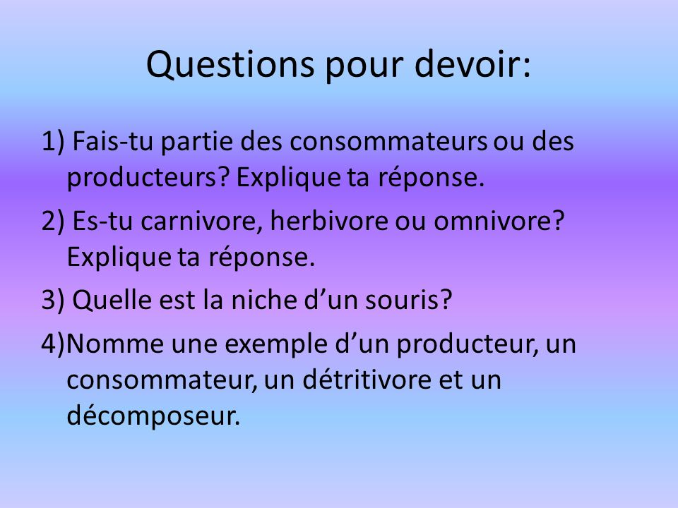 Questions pour devoir: