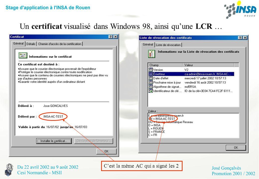 Un certificat visualisé dans Windows 98, ainsi qu'une LCR …