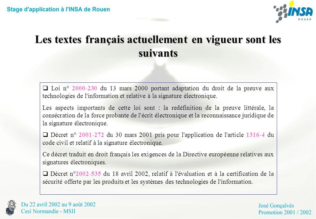 Les textes français actuellement en vigueur sont les suivants