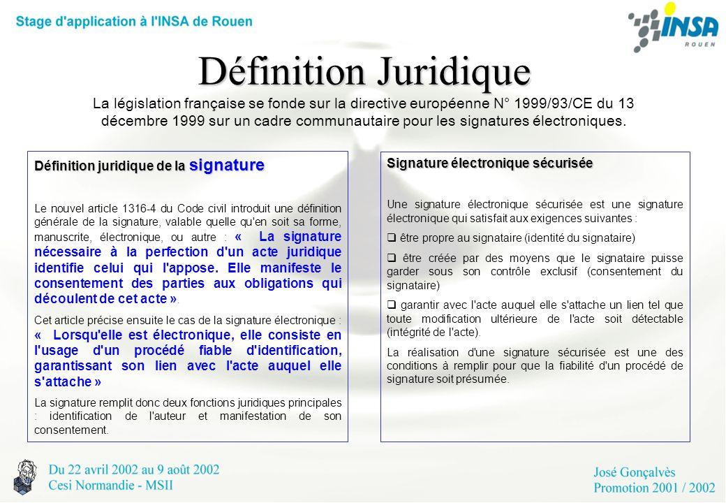Définition Juridique La législation française se fonde sur la directive européenne N° 1999/93/CE du 13 décembre 1999 sur un cadre communautaire pour les signatures électroniques.
