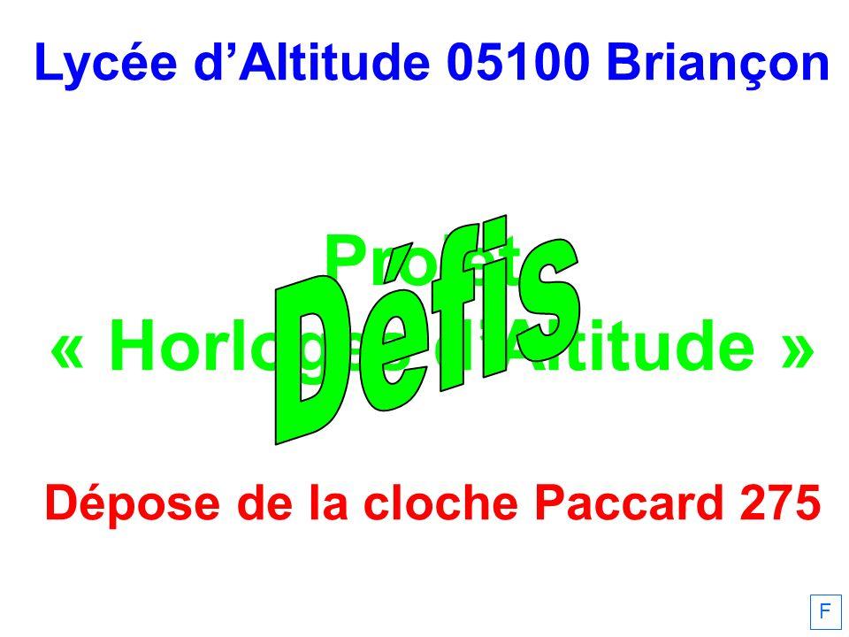Défis Projet « Horloges d'Altitude » Lycée d'Altitude 05100 Briançon