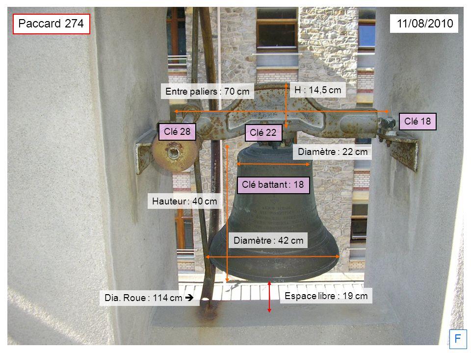 Paccard 274 11/08/2010 F H : 14,5 cm Entre paliers : 70 cm Clé 18