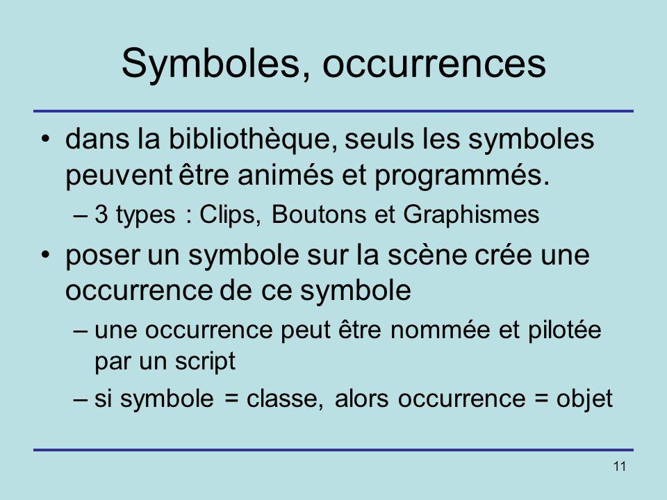 Symboles, occurrences dans la bibliothèque, seuls les symboles peuvent être animés et programmés. 3 types : Clips, Boutons et Graphismes.