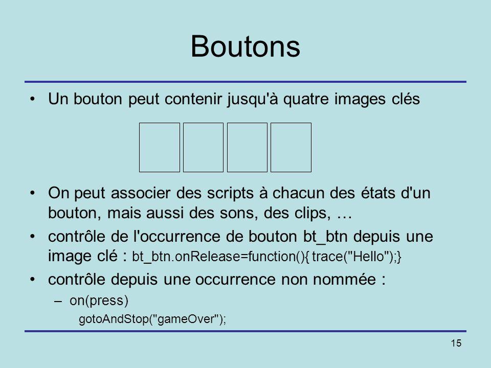 Boutons Un bouton peut contenir jusqu à quatre images clés