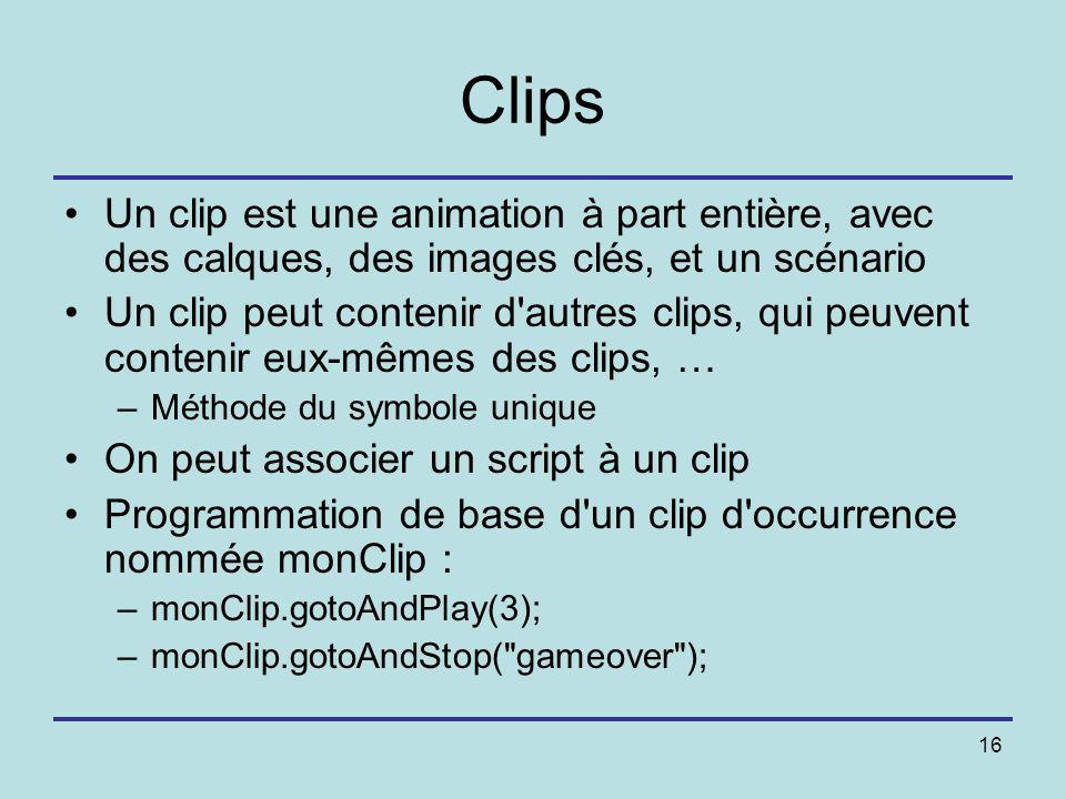 Clips Un clip est une animation à part entière, avec des calques, des images clés, et un scénario.