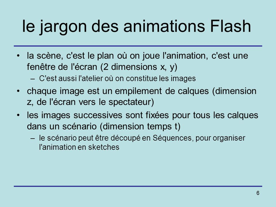 le jargon des animations Flash