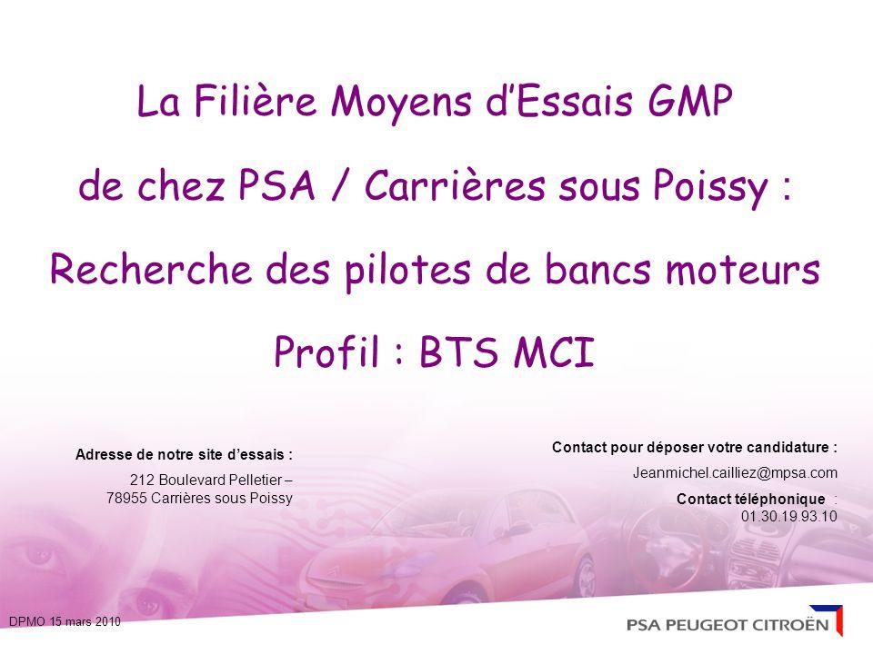 La Filière Moyens d'Essais GMP de chez PSA / Carrières sous Poissy : Recherche des pilotes de bancs moteurs Profil : BTS MCI