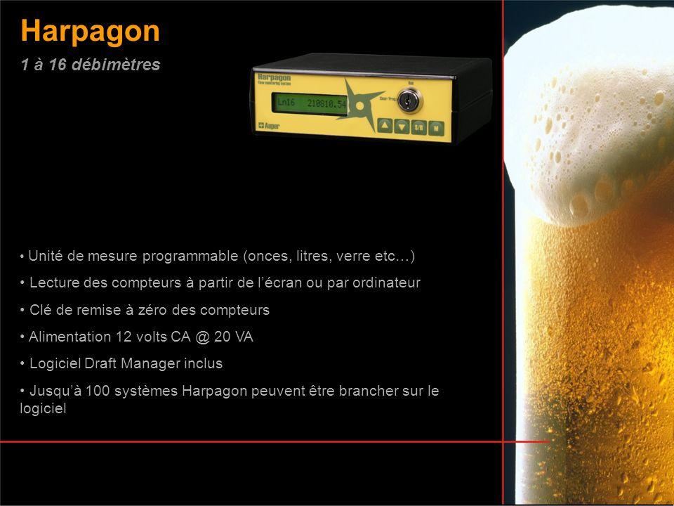 Harpagon 1 à 16 débimètres. Unité de mesure programmable (onces, litres, verre etc…) Lecture des compteurs à partir de l'écran ou par ordinateur.