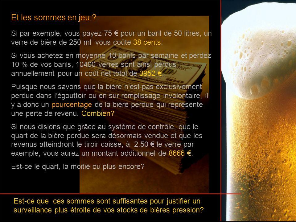 Et les sommes en jeu Si par exemple, vous payez 75 € pour un baril de 50 litres, un verre de bière de 250 ml vous coûte 38 cents.