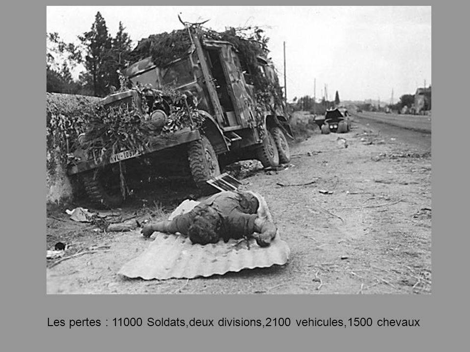 Les pertes : 11000 Soldats,deux divisions,2100 vehicules,1500 chevaux