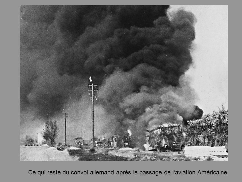 Ce qui reste du convoi allemand aprés le passage de l'aviation Américaine