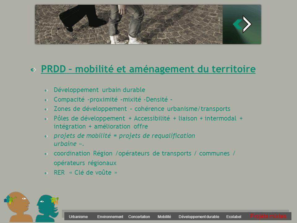 PRDD – mobilité et aménagement du territoire