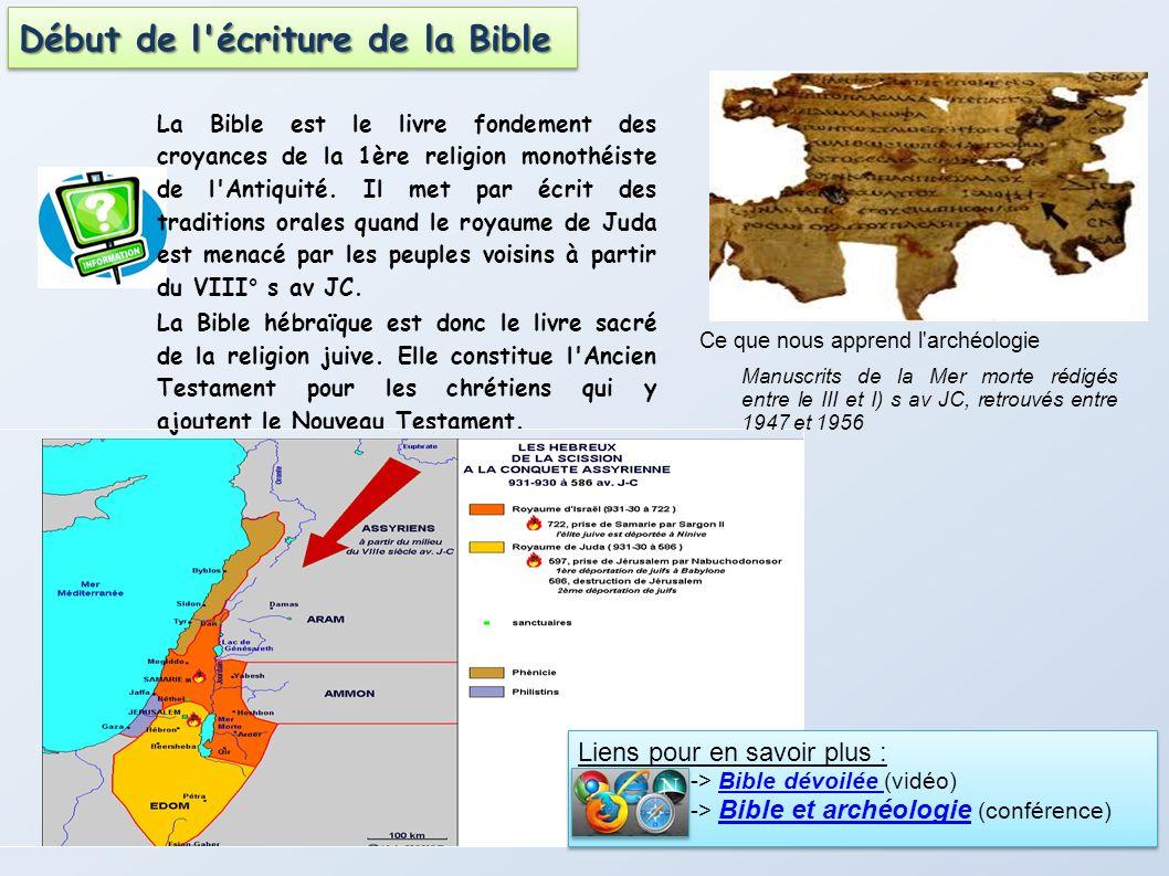 Début de l écriture de la Bible
