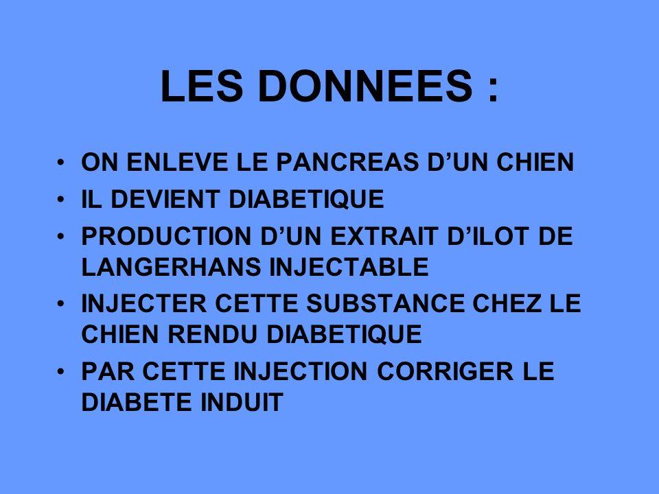 LES DONNEES : ON ENLEVE LE PANCREAS D'UN CHIEN IL DEVIENT DIABETIQUE