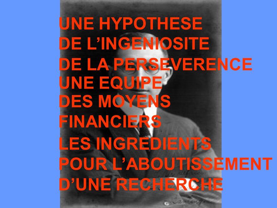 UNE HYPOTHESE DE L'INGENIOSITE. DE LA PERSEVERENCE. UNE EQUIPE. DES MOYENS. FINANCIERS. LES INGREDIENTS.