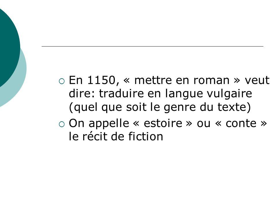 En 1150, « mettre en roman » veut dire: traduire en langue vulgaire (quel que soit le genre du texte)