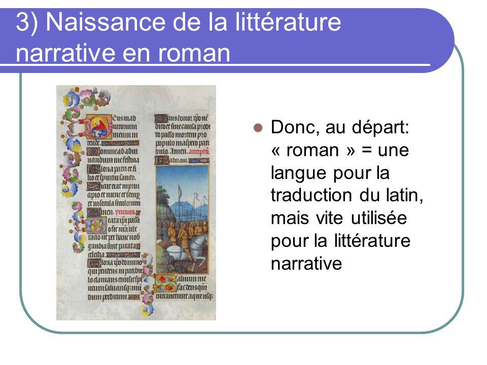 3) Naissance de la littérature narrative en roman