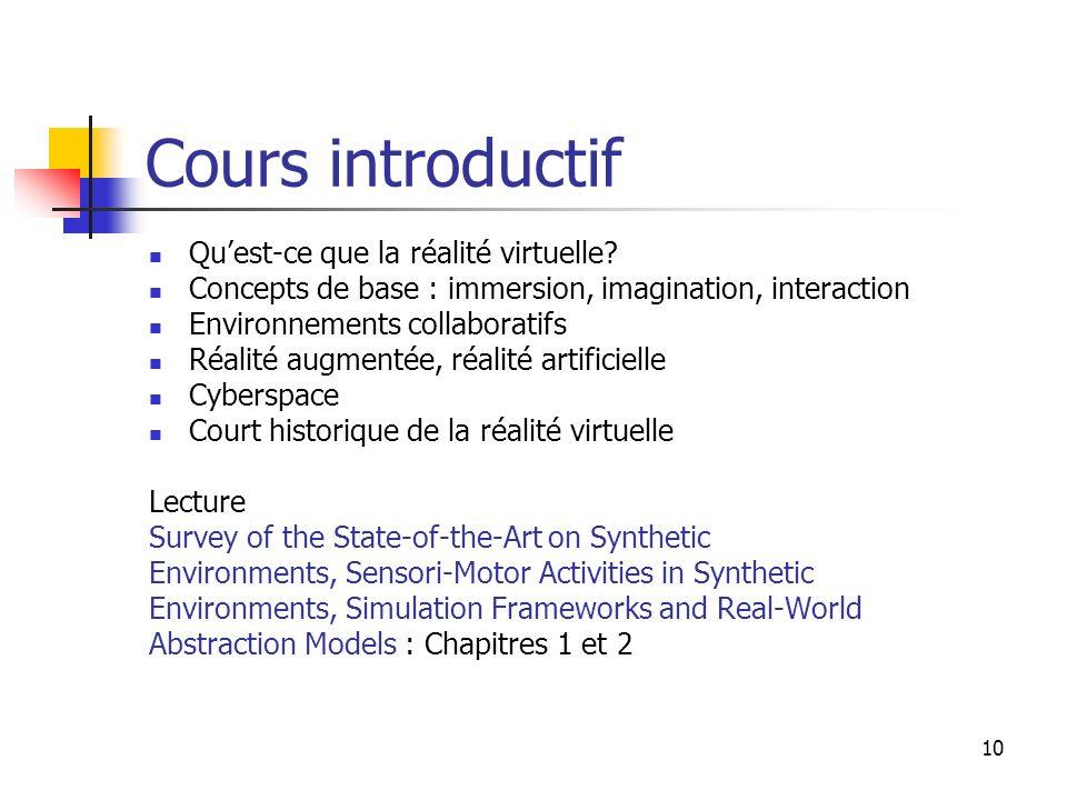 Cours introductif Qu'est-ce que la réalité virtuelle