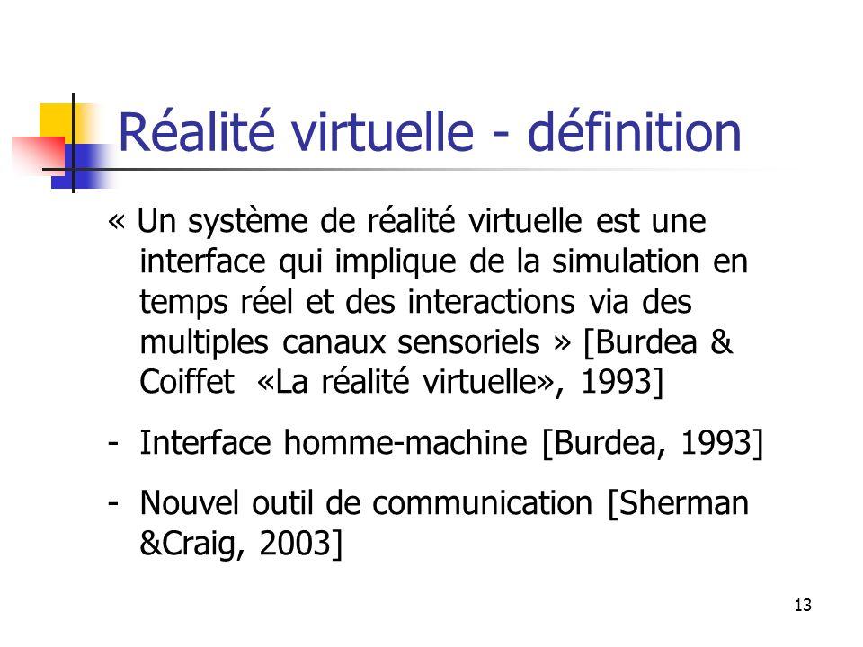 Réalité virtuelle - définition