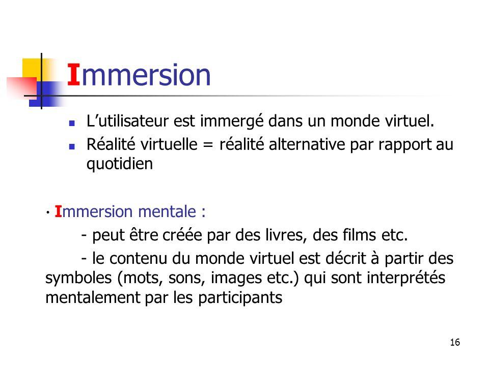 Immersion L'utilisateur est immergé dans un monde virtuel.