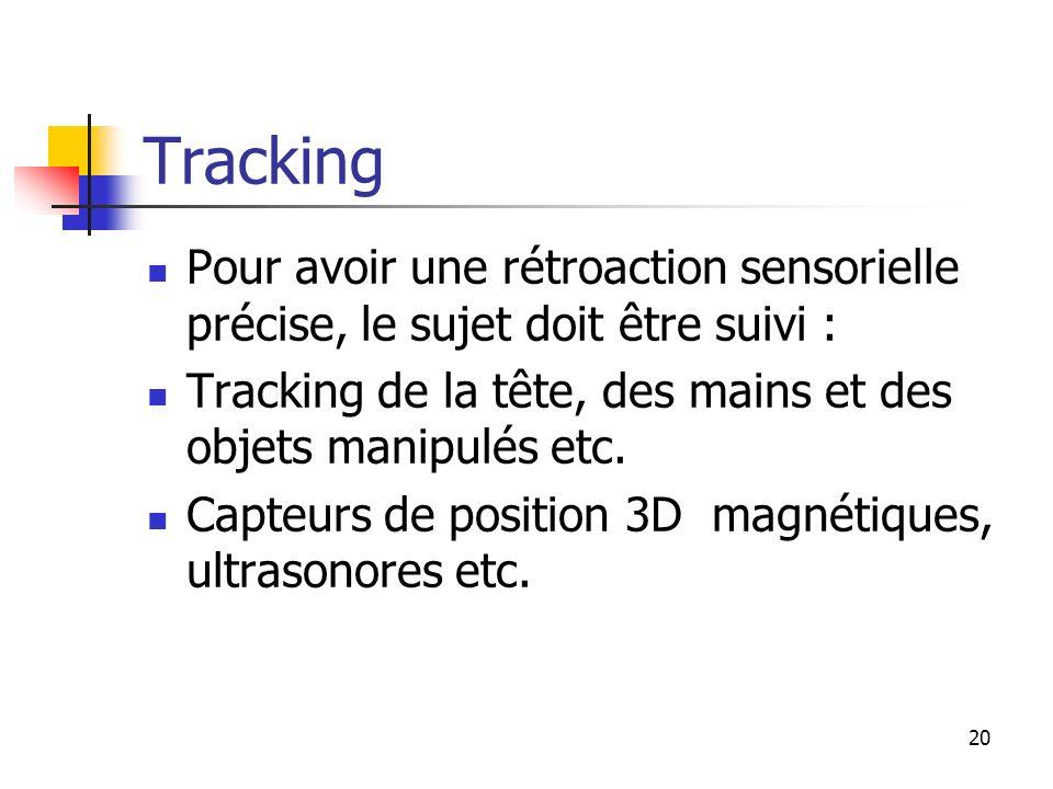 Tracking Pour avoir une rétroaction sensorielle précise, le sujet doit être suivi : Tracking de la tête, des mains et des objets manipulés etc.