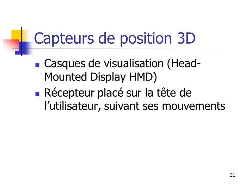 Capteurs de position 3D Casques de visualisation (Head-Mounted Display HMD) Récepteur placé sur la tête de l'utilisateur, suivant ses mouvements.