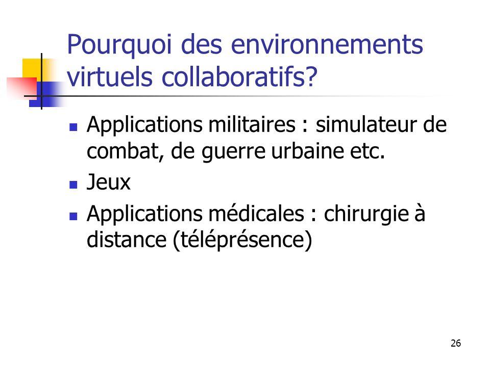 Pourquoi des environnements virtuels collaboratifs