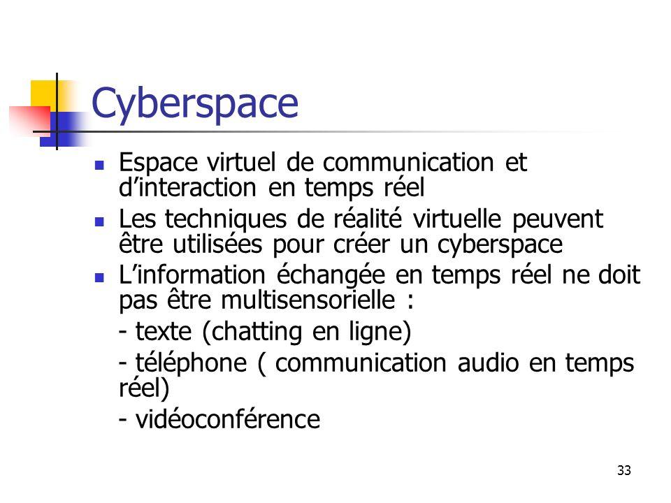 Cyberspace Espace virtuel de communication et d'interaction en temps réel.