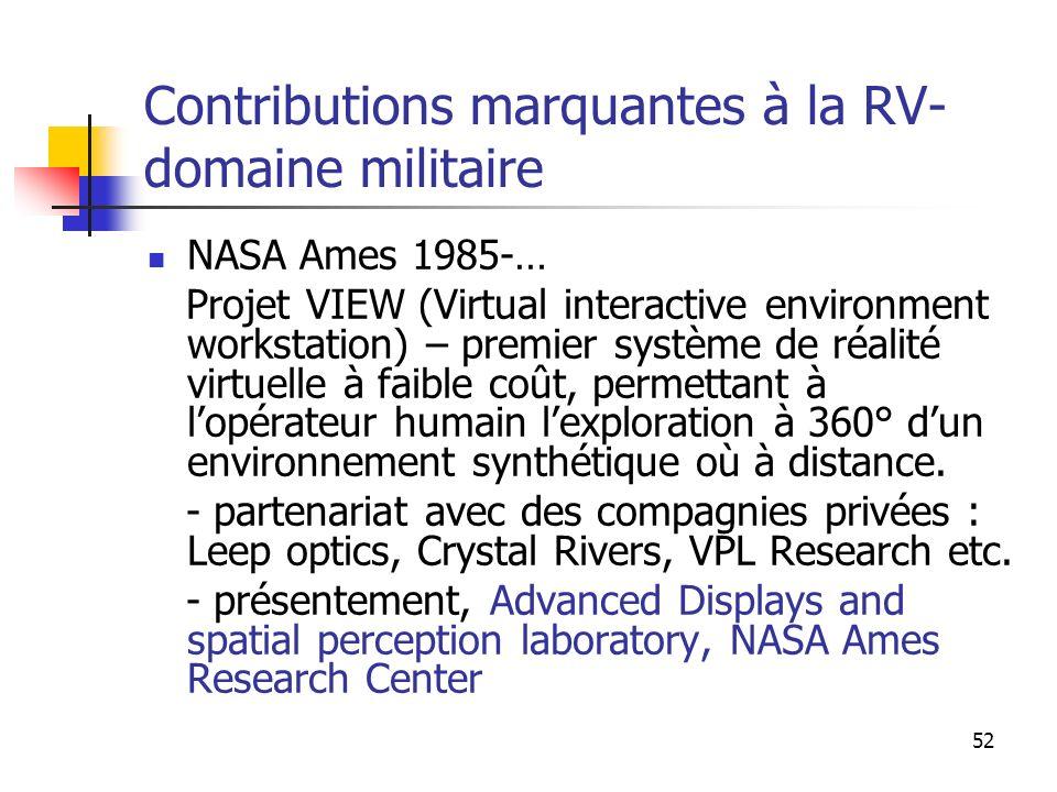 Contributions marquantes à la RV- domaine militaire