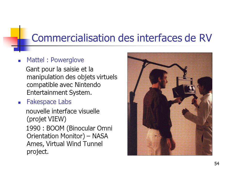 Commercialisation des interfaces de RV