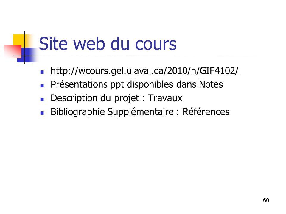 Site web du cours http://wcours.gel.ulaval.ca/2010/h/GIF4102/