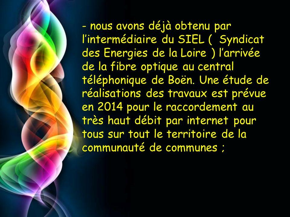 - nous avons déjà obtenu par l'intermédiaire du SIEL ( Syndicat des Energies de la Loire ) l'arrivée de la fibre optique au central téléphonique de Boën.